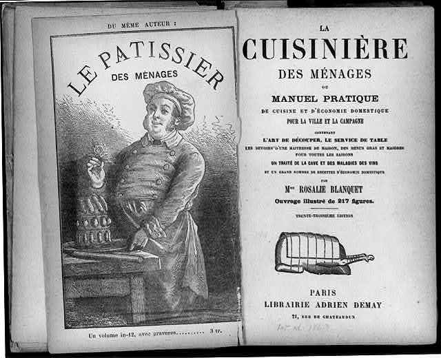 [Title page of Rosalie Blanquet, La Cuisiniere de menages and frontispiece showing cook holding a rose over a cake]