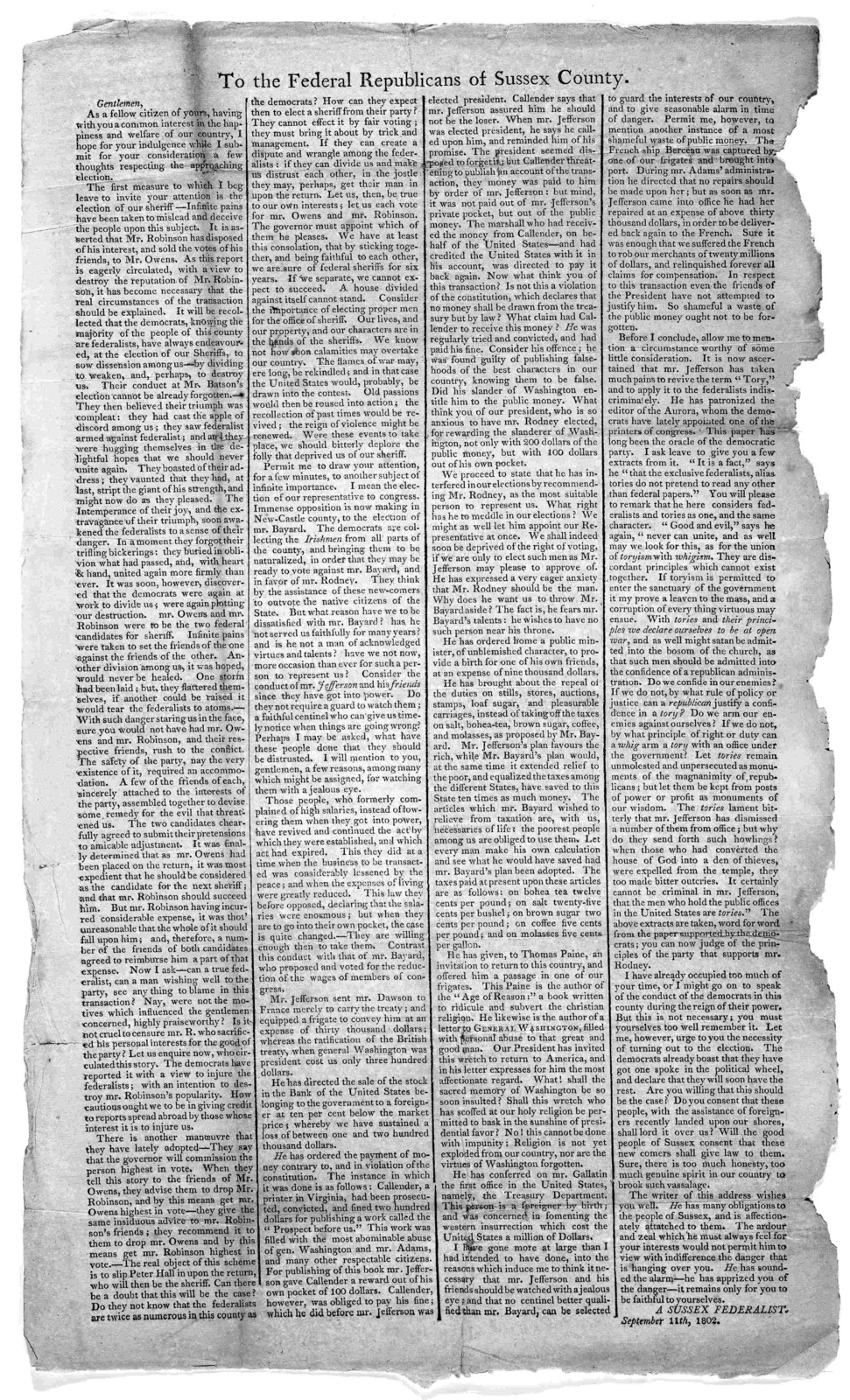 To the federal republicans of Sussex County [Regarding candidates for election] A Sussex Federalist. September 11th, 1802.