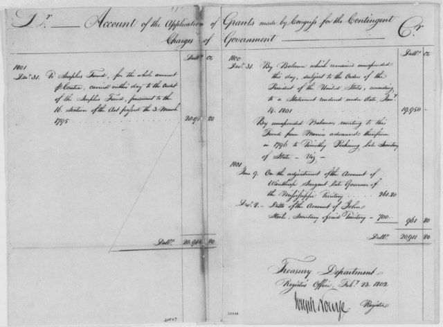 Treasury Department, February 23, 1802, Account of Contingent Charges