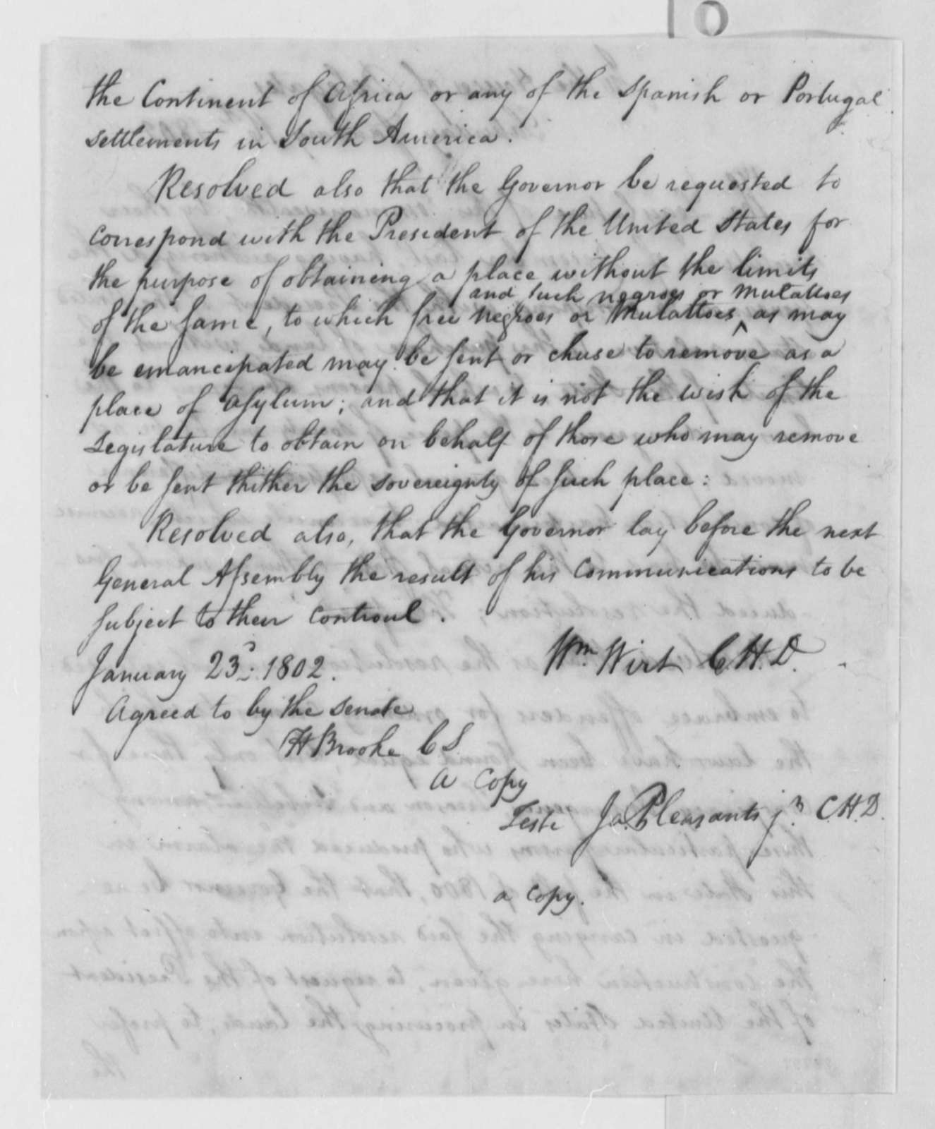 Virginia House of Delegates, January 16, 1802, Copy of Resolution