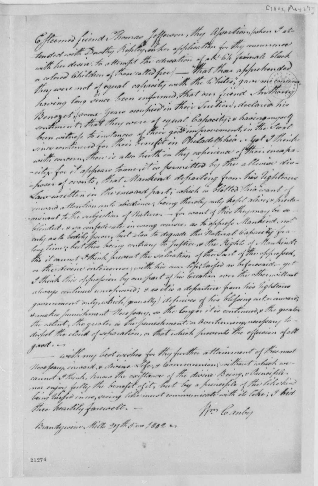 William Canby to Thomas Jefferson, May 27, 1802