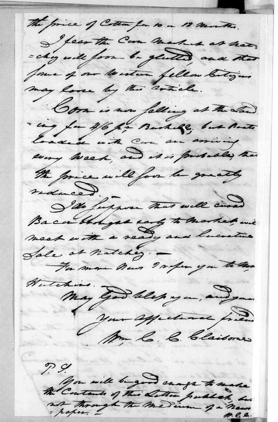 William Charles Cole Claiborne to Andrew Jackson, January 20, 1802