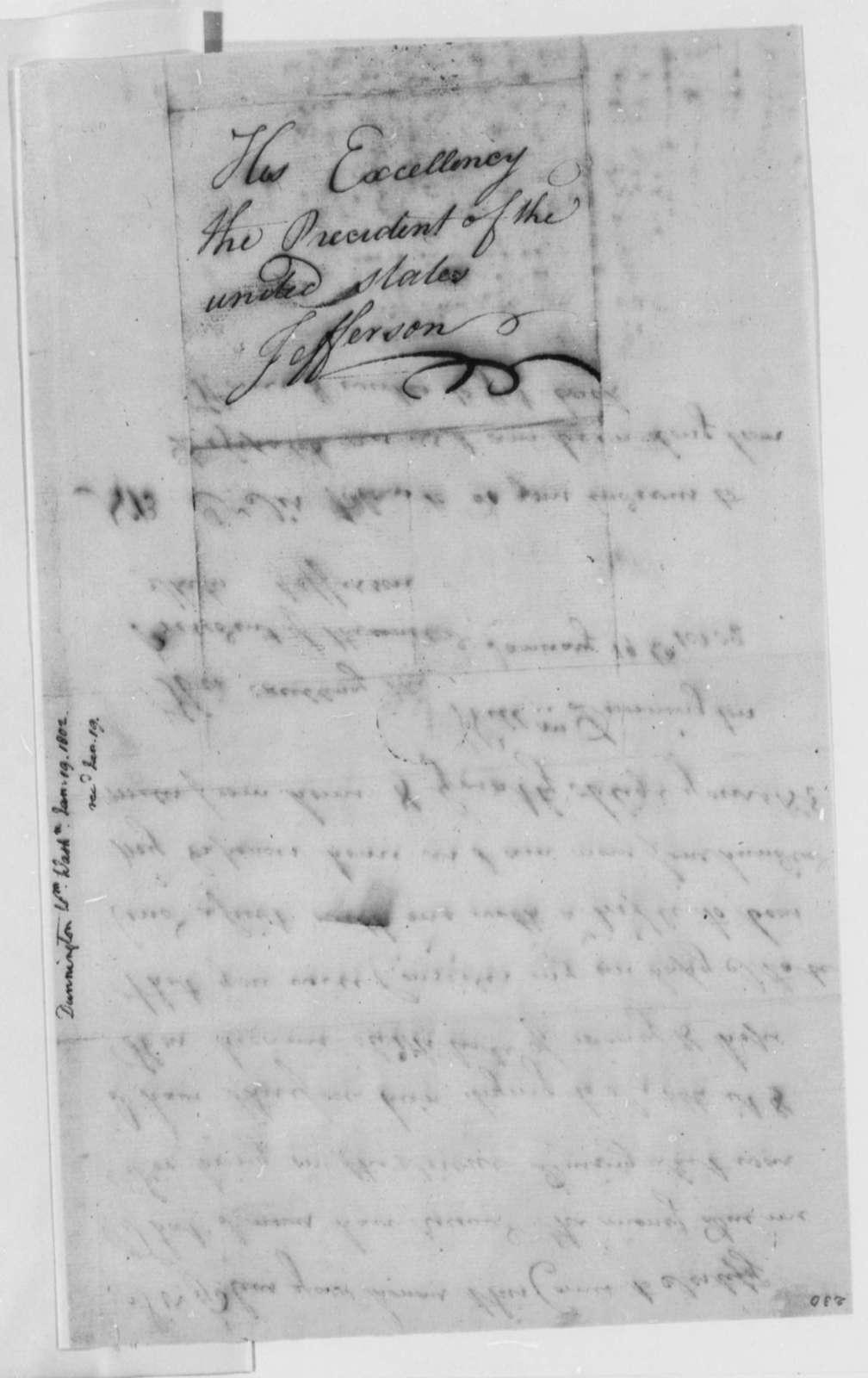 William Dunnington to Thomas Jefferson, January 19, 1802