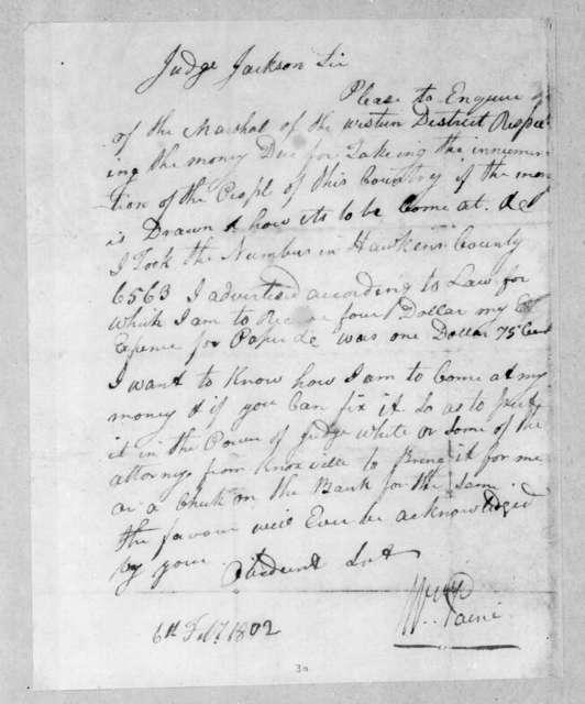 William Paine to Andrew Jackson, February 6, 1802