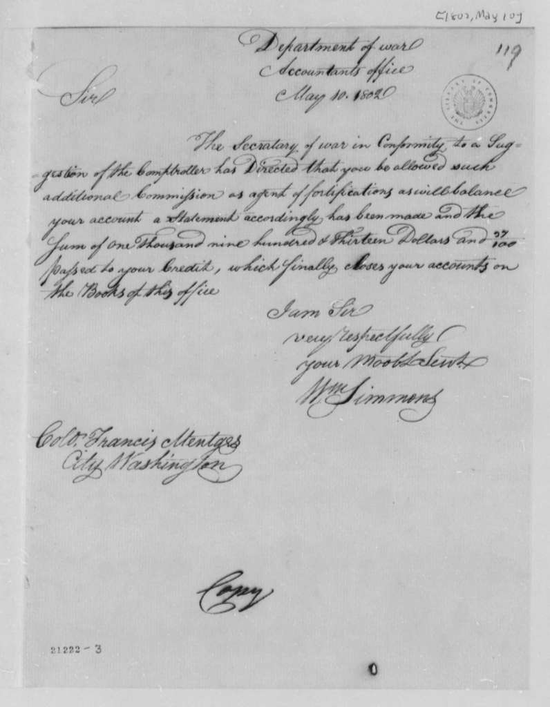 William Simmons to Francis Mentges, May 10, 1802