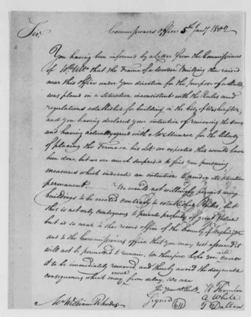 William Thornton, Alexander White, and Tristam Dalton, Commissioners to William Rhodes, January 5, 1802