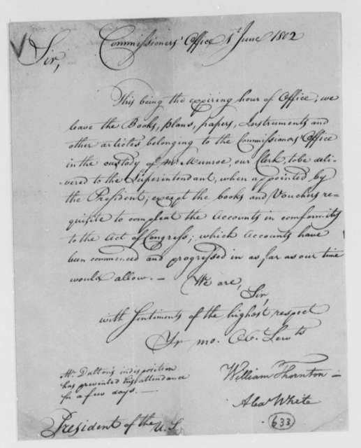 William Thornton and Alexander White, Commissioners to Thomas Jefferson, June 1, 1802