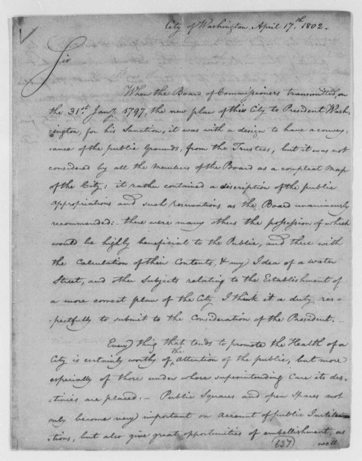 William Thornton, Commissioner to Thomas Jefferson, April 17, 1802