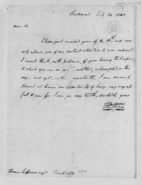 William Wirt to Thomas Jefferson, July 20, 1802