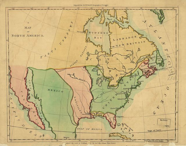 A map of North America ; Outline of North America, in correspond to the map.