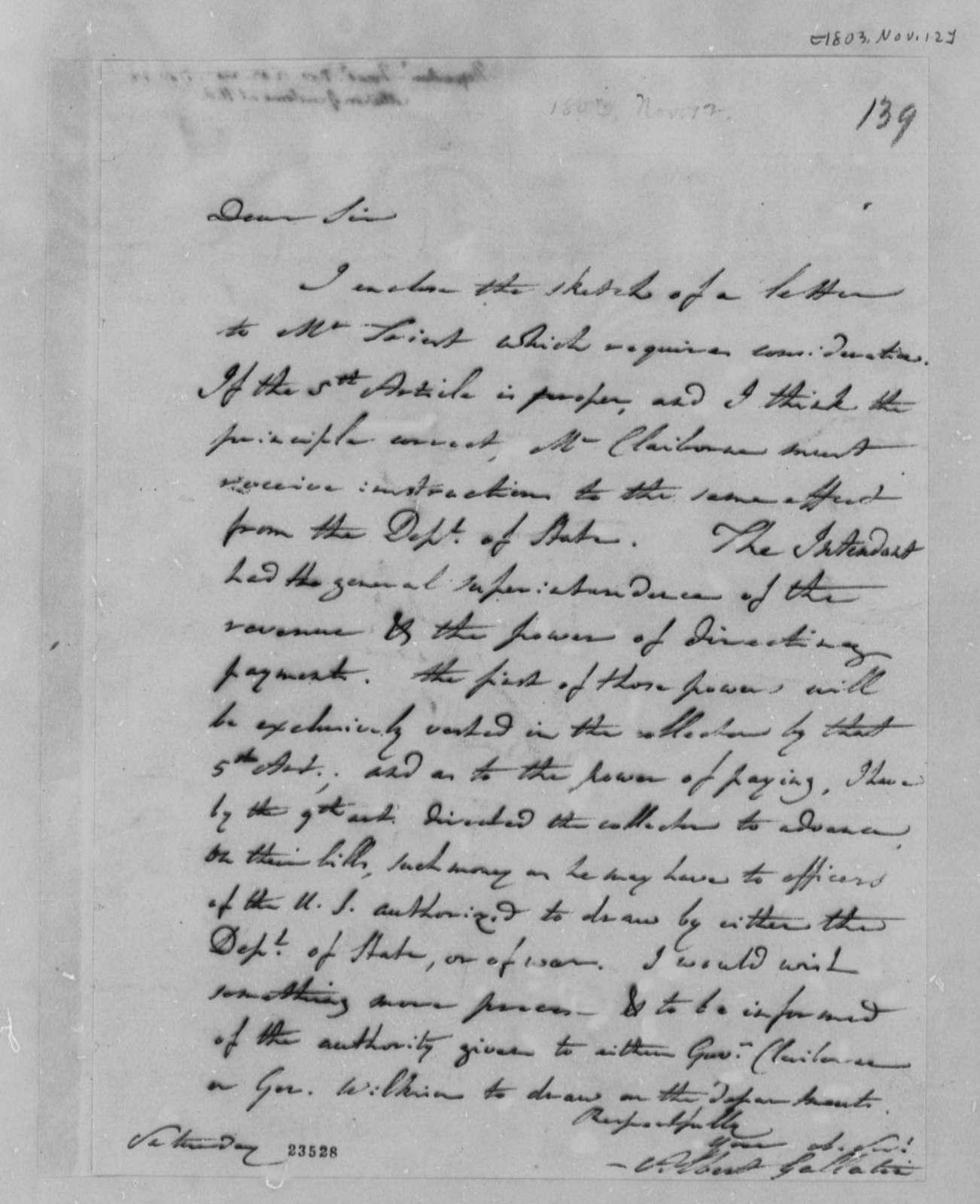 Albert Gallatin to Thomas Jefferson, November 12, 1803