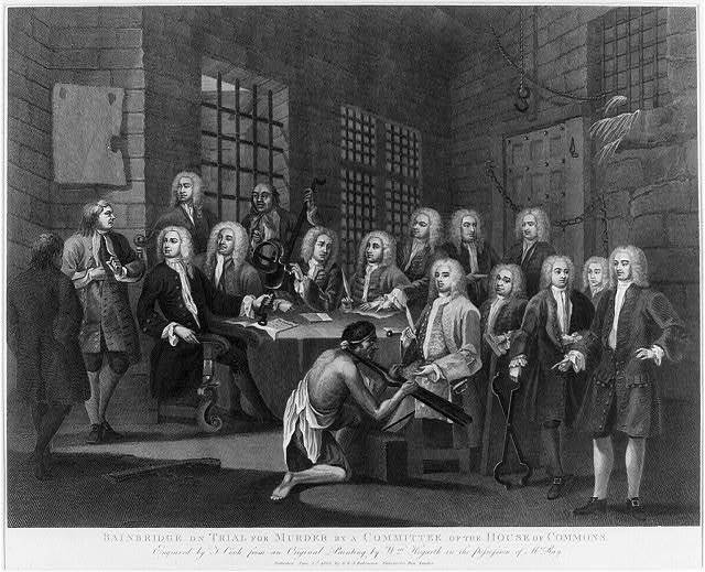 Bainbridge [i.e., Bambridge] on trial for murder by a committee of the House of Commons / engraved by T. Cook from an original painting by Wm. Hogarth in the possession of Mr. Ray.