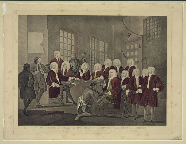 Bambridge on trial for murder by a committee of the House of Commons / engraved by T. Cook from an original painting by Wm. Hogarth in the possession of Mr. Ray.