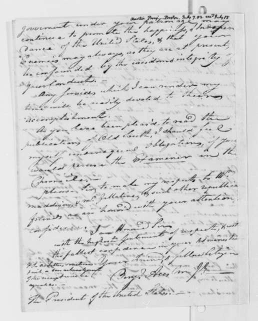 Benjamin Austin, Jr. to Thomas Jefferson, July 7, 1803