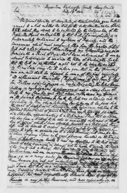 Benjamin Galloway to Thomas Jefferson, July 19, 1803