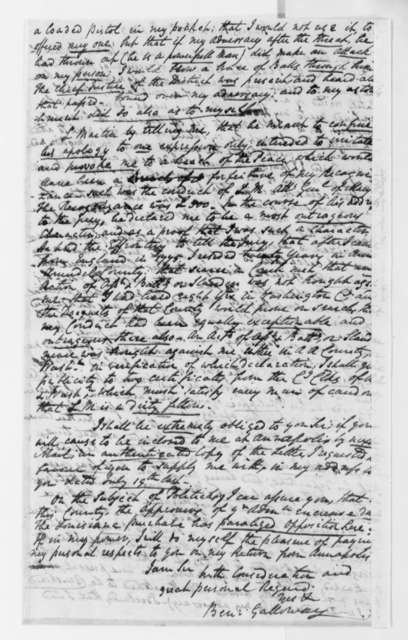 Benjamin Galloway to Thomas Jefferson, October 11, 1803