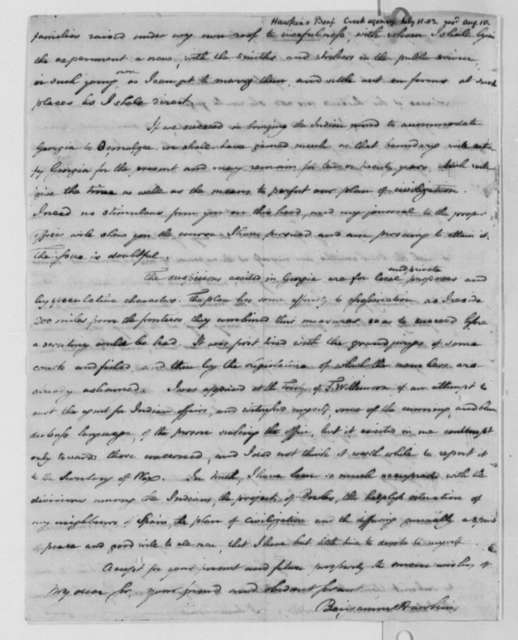 Benjamin Hawkins to Thomas Jefferson, July 11, 1803