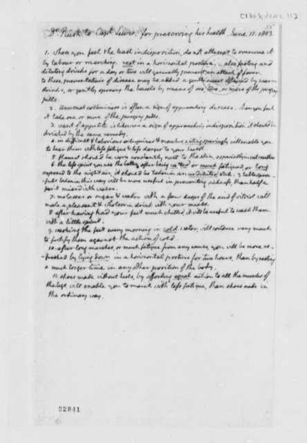 Benjamin Rush to Meriwether Lewis, June 11, 1803, Rules