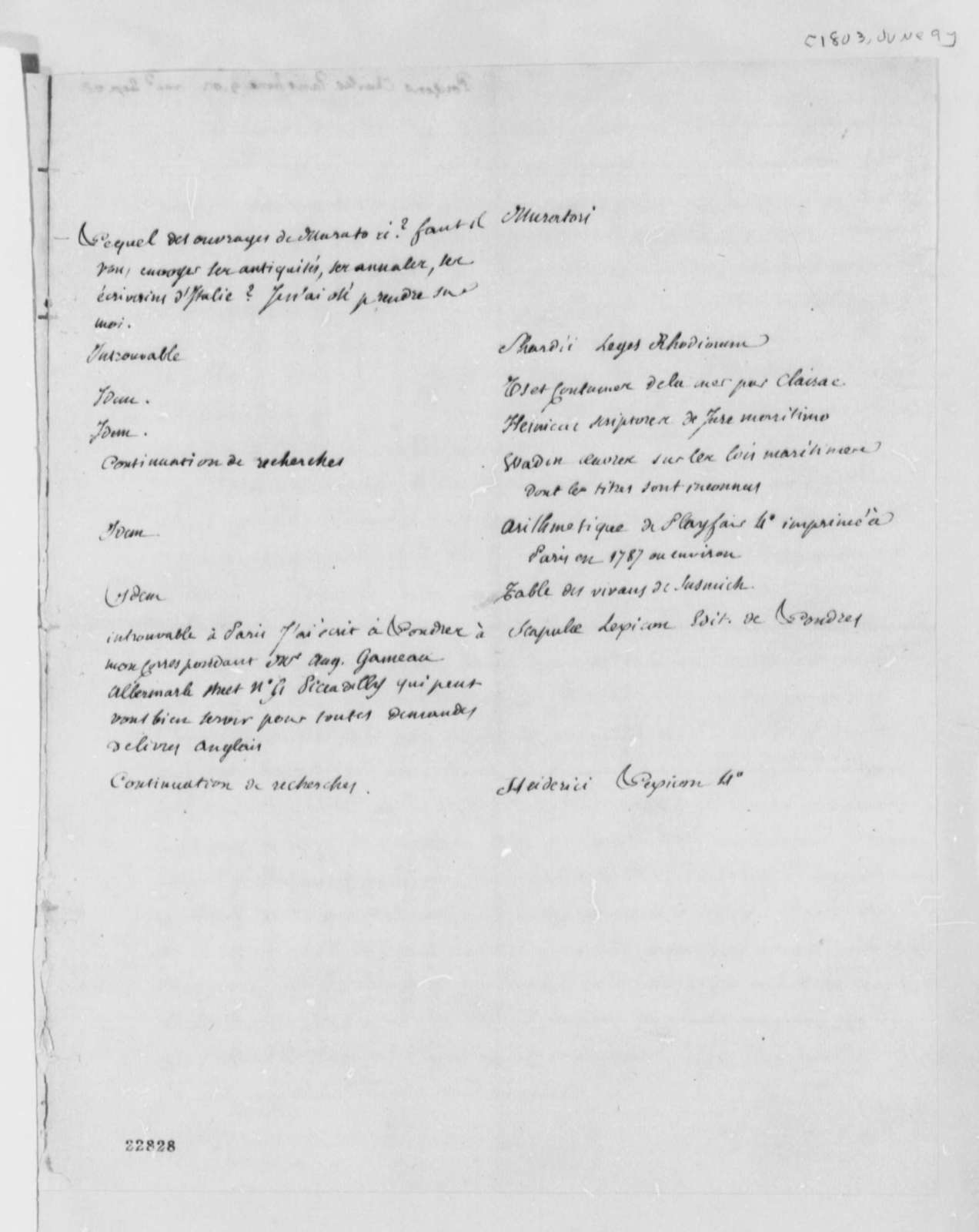 Charles de Pougens to Thomas Jefferson, June 9, 1803, with List, in French