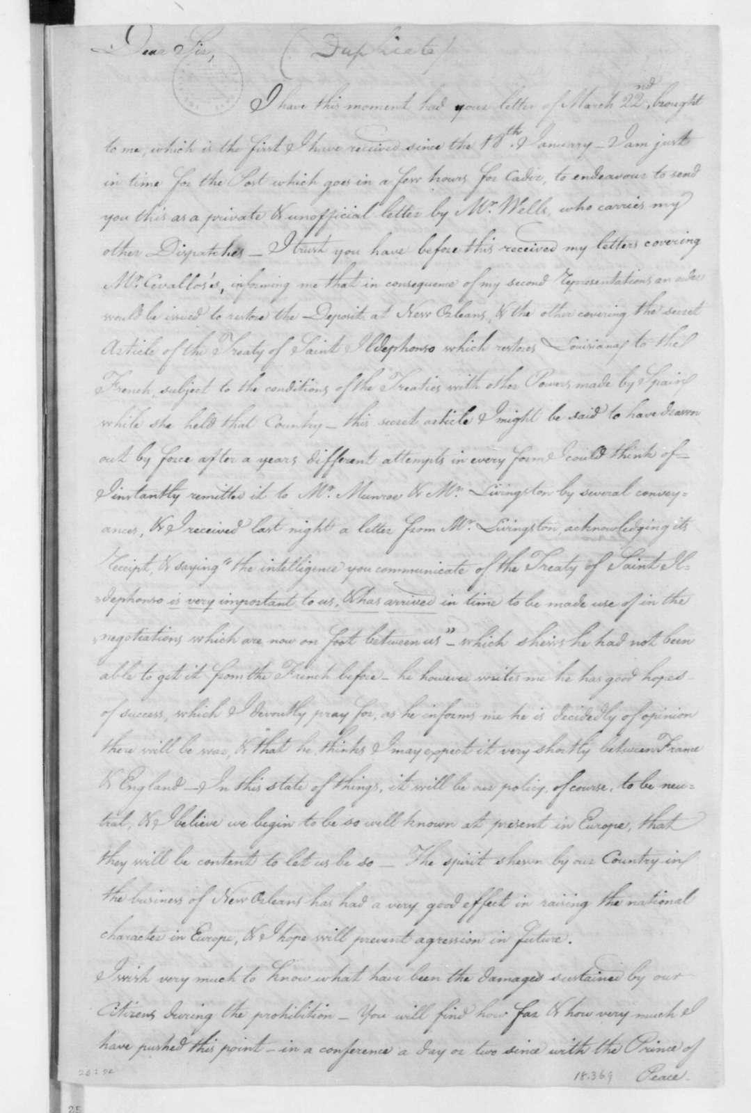 Charles Pinckney to James Madison, May 14, 1803.