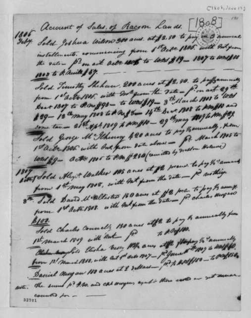 Charles Simms, 1803, Account of Land Sale of Racoon Creek