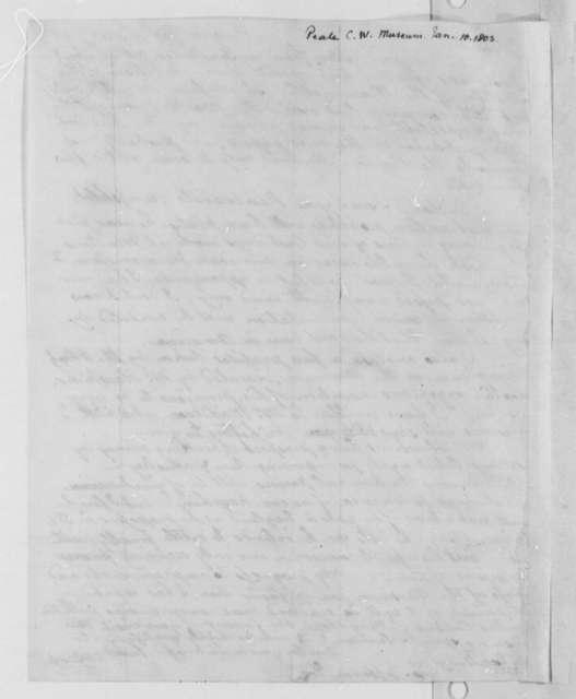 Charles Willson Peale to Thomas Jefferson, January 10, 1803