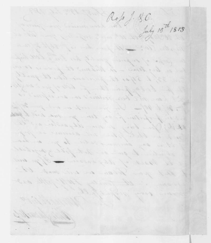 Colin and James Ross to James Madison, July 13, 1803.