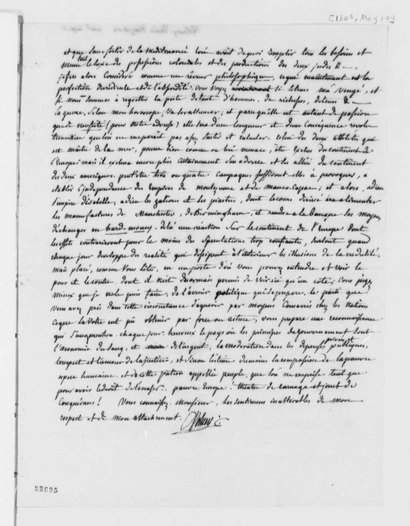 Count de Volney to Thomas Jefferson, May 10, 1803, in French