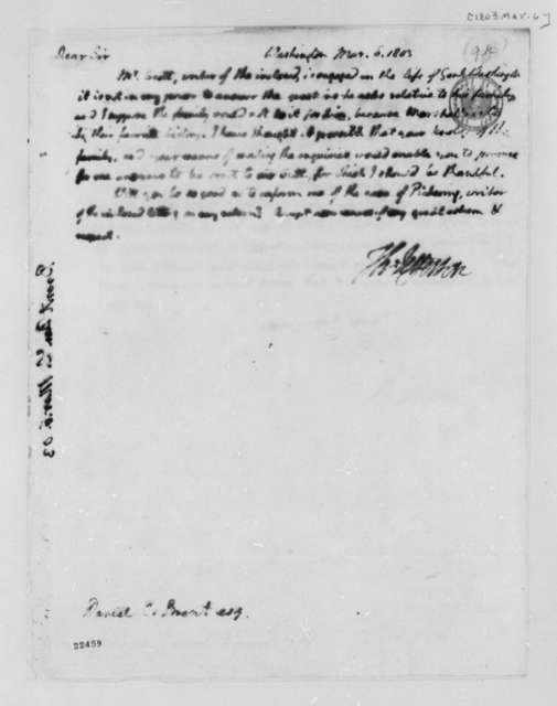 Daniel C. Brent to Thomas Jefferson, March 6, 1803