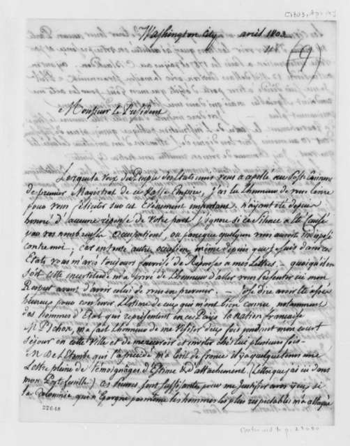 De Lormerie to Thomas Jefferson, April 14, 1803, in French, with List