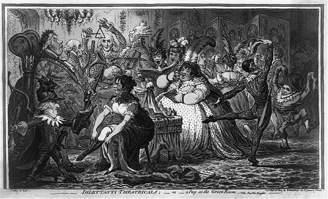 Dilettanti-theatricals:--or--a peep at the Green Room.--vide, Pic-Nic-Orgies-- / Js. Gillray, inv. & fect.