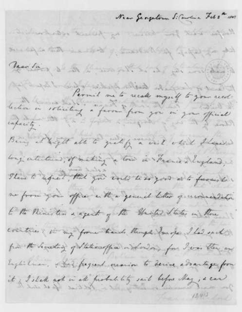 Francis Kinloch to James Madison, February 5, 1803.