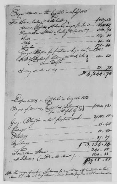 George Blagden, Superintendent of Stonework and Quarries to John Lenthall, August 1803, Expenditures on the Capitol