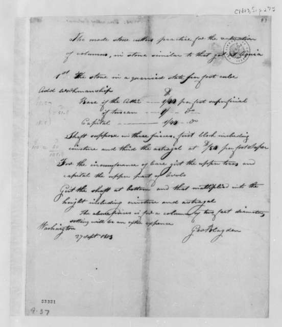 George Blagden to Thomas Jefferson, September 27, 1803