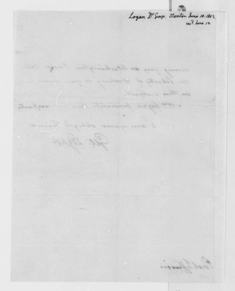 George Logan to Thomas Jefferson, June 10, 1803