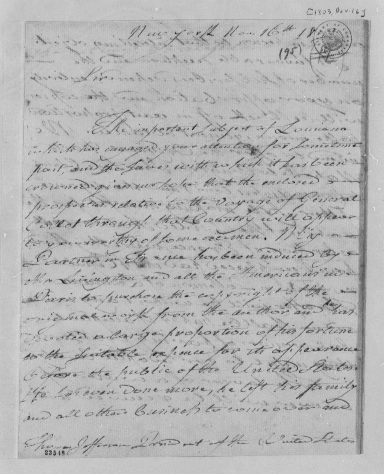 H  Carittat to Thomas Jefferson, November 16, 1803 | PICRYL