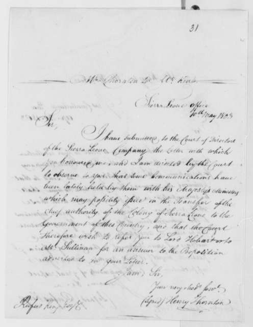 Henry Thornton to Rufus King, May 10, 1803