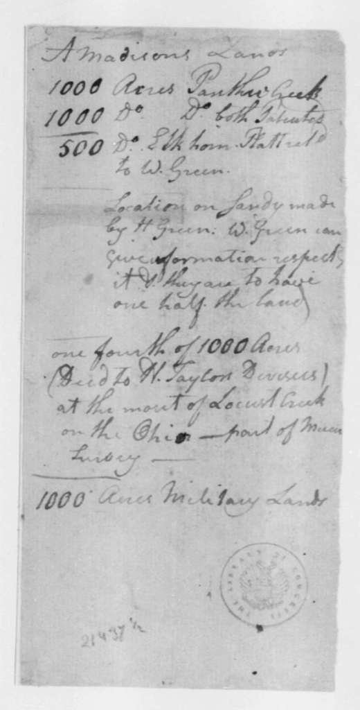 Hubbard Taylor to James Madison, January 16, 1803. Third page is torn. Contains a note on land owned by Madison.