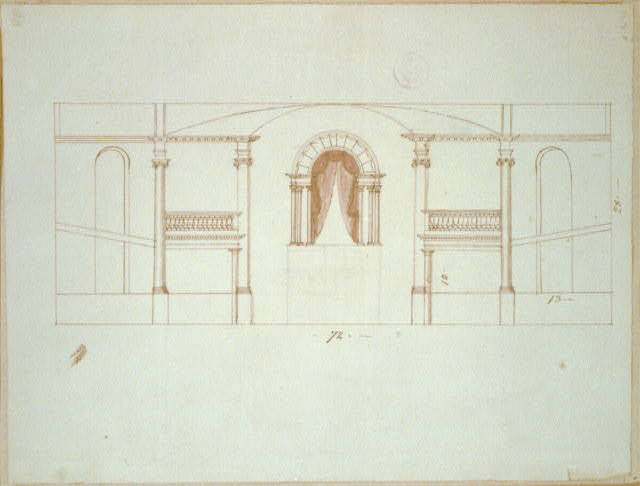 [Ionic columns defining ballustraded galleries. Interior sectional elevation]