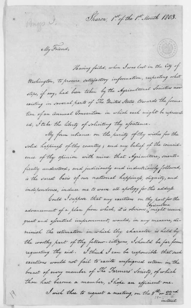 Isaac Briggs to James Madison, January 1, 1803. Includes Constitution of the American Board of Agriculture.