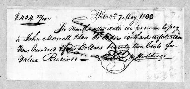 Jackson & Hutchings to John Morrell, May 7, 1803