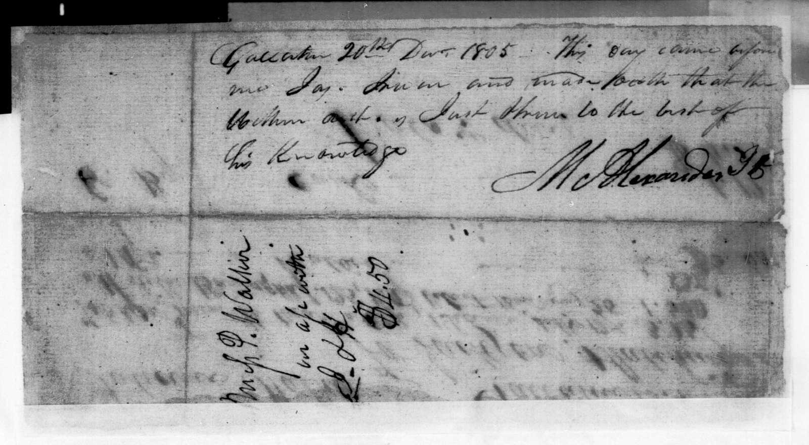 Jackson & Hutchings to Patience Walker, August 23, 1803