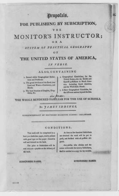 James Iddings, 1803, Printed Proposal, Monitor's Instructor for Practical Geography