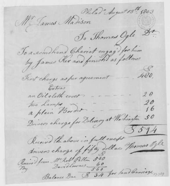 """James Ker to James Madison, August 13, 1803. With bill for a """"second hand Chariot""""."""