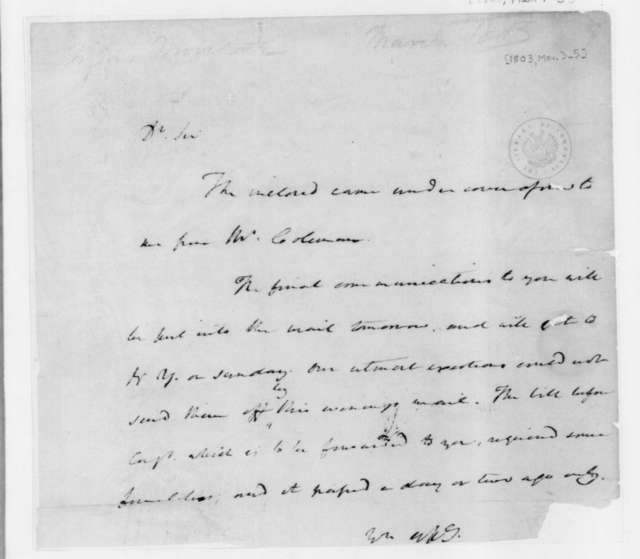 James Madison to James Monroe, March 1, 1803.