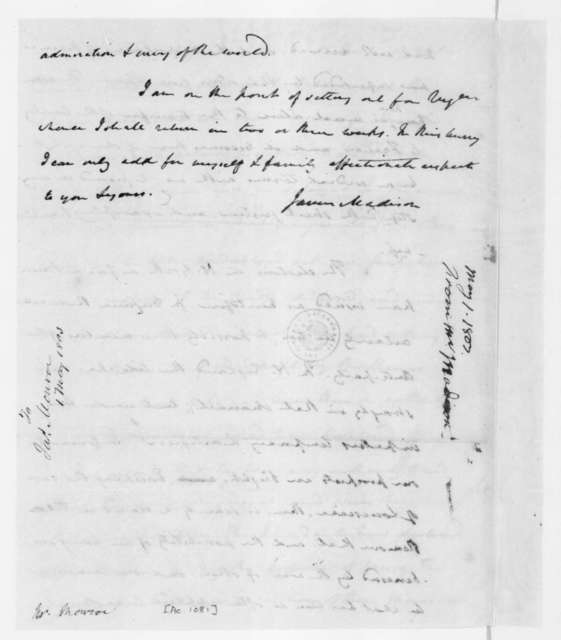 James Madison to James Monroe, May 1, 1803. Includes partial letterpress copy.