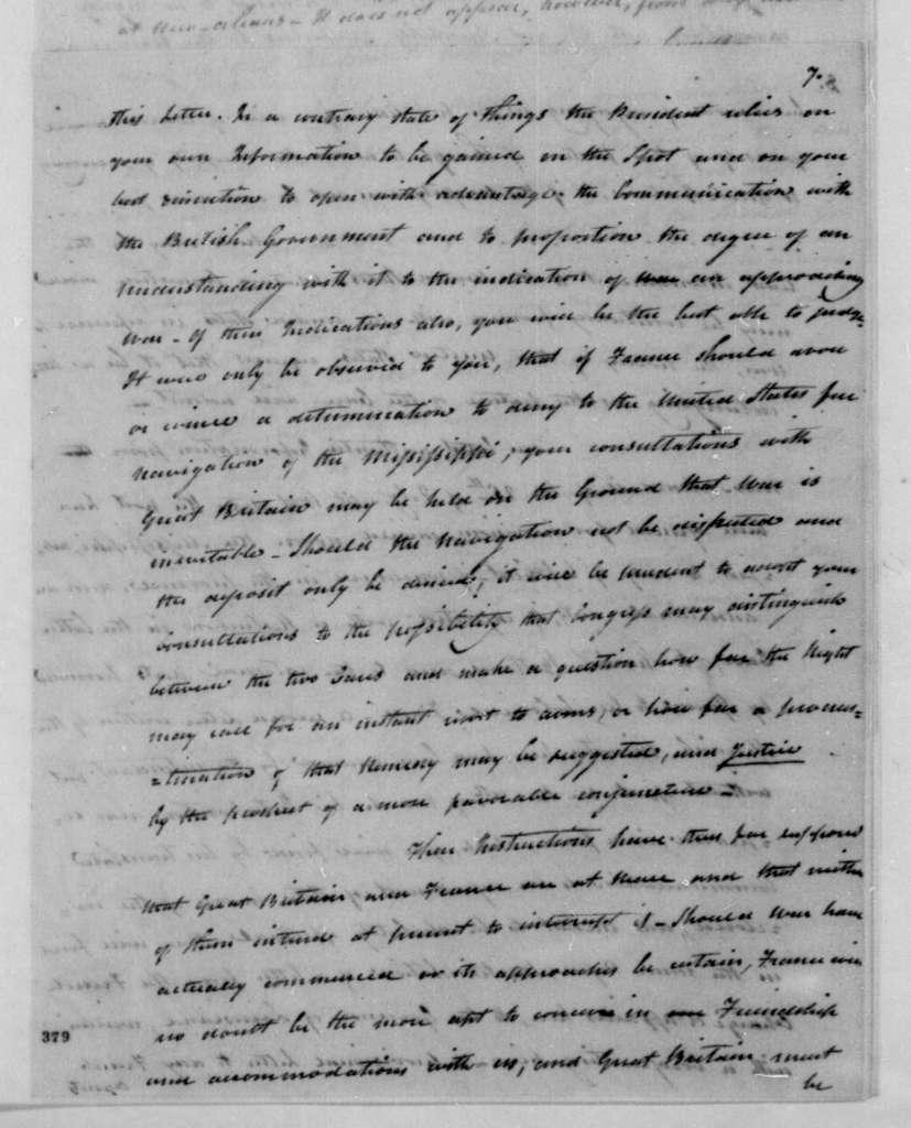 James Madison to Robert Livingston, April 18, 1803.