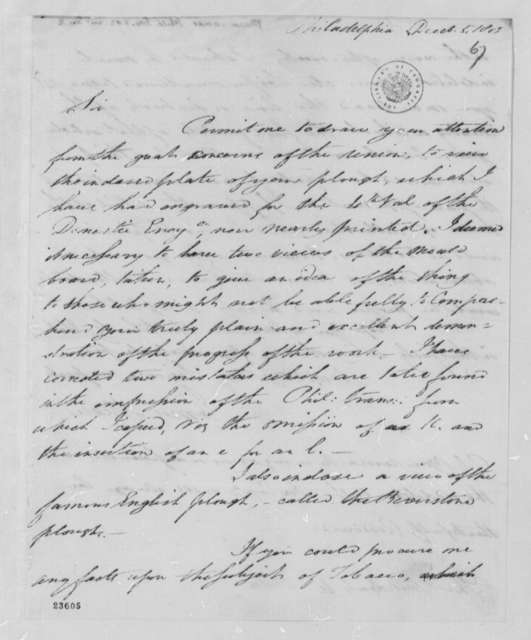 James Mease to Thomas Jefferson, December 5, 1803