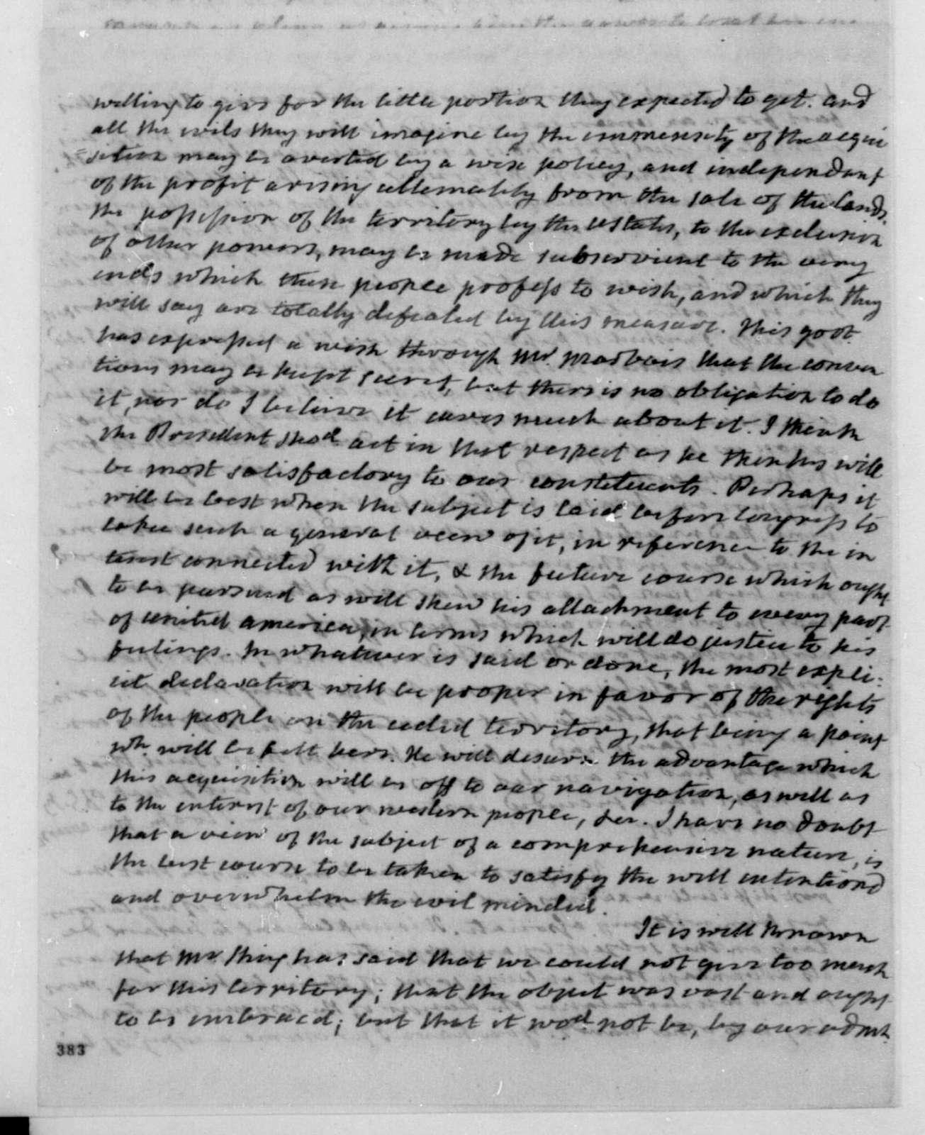 James Monroe to James Madison, May 14, 1803.