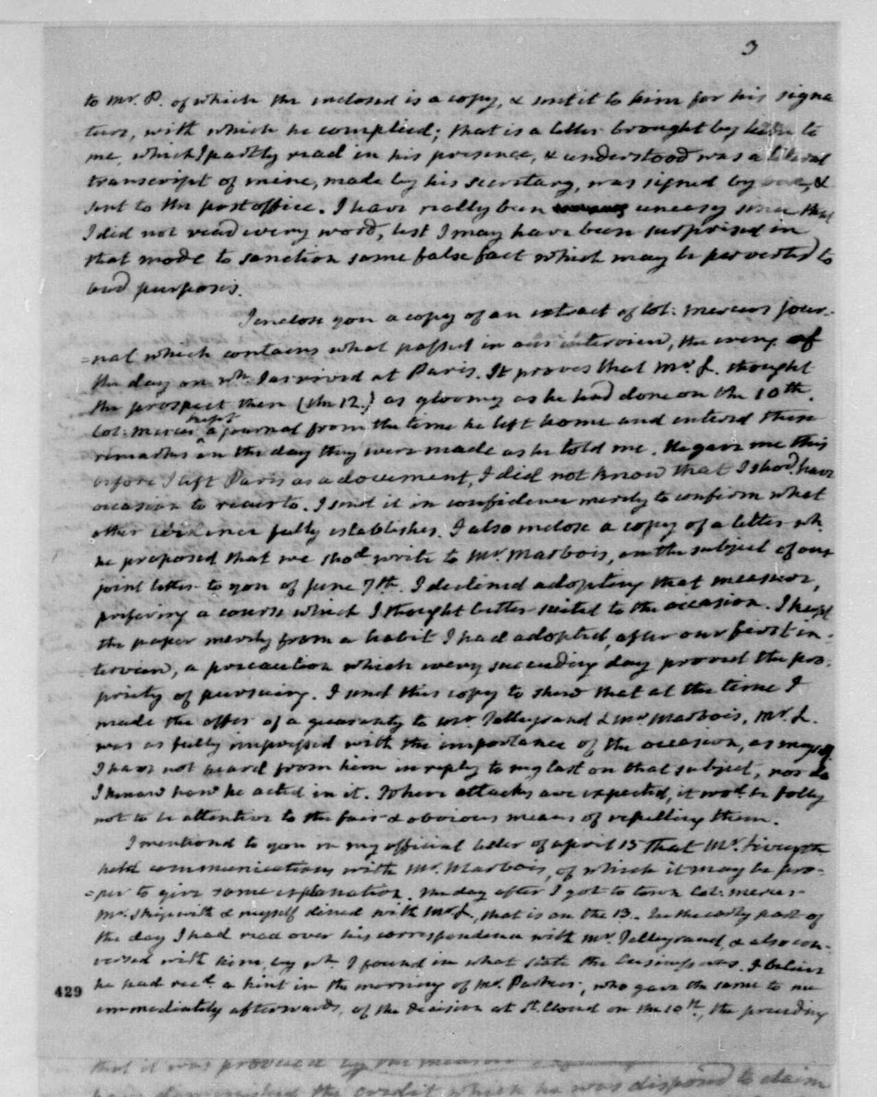 James Monroe to James Madison, September 17, 1803.